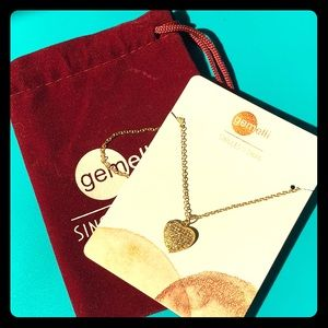 Gemelli Pave Heart Gold Necklace